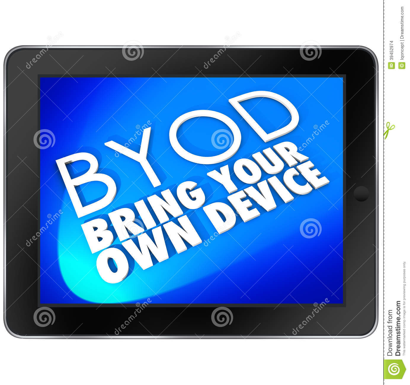 BYOD Tablet Computer Blue Screen Bring Your Own Device Acronym