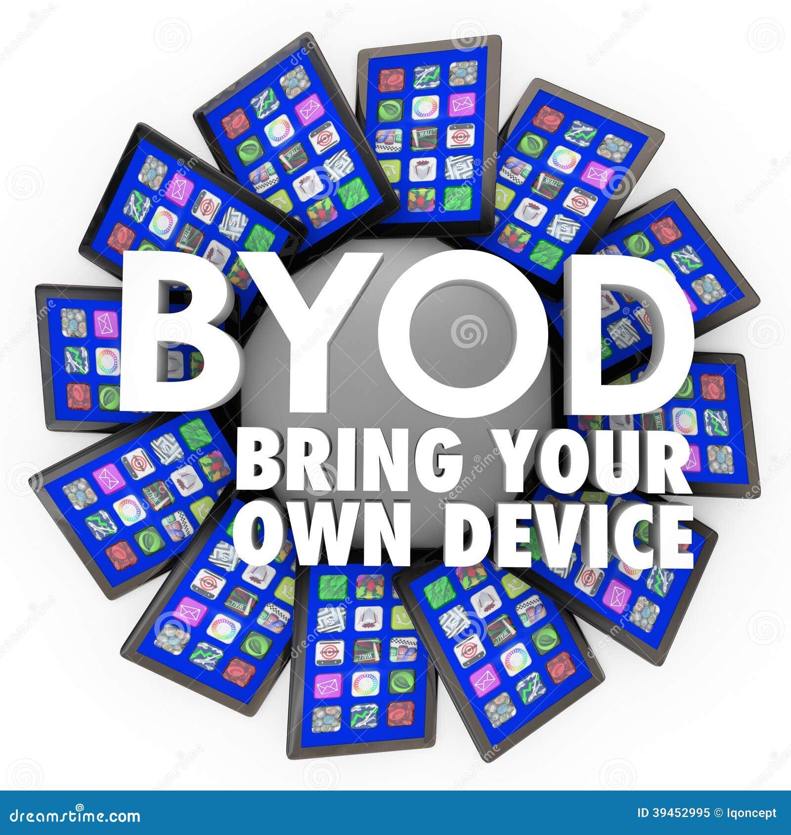 BYOD traen a sus propios ordenadores de las tabletas del dispositivo el trabajo móvil