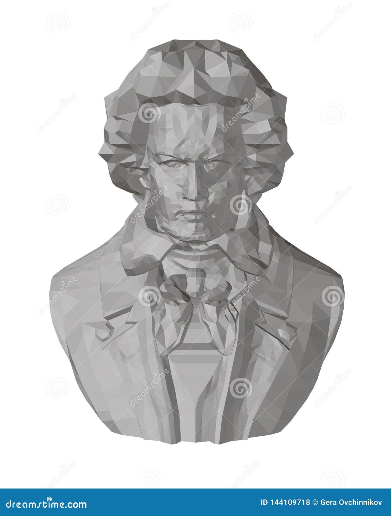 Byst av Beethoven Polygonal byst av Beethoven 3D Bekläda beskådar Beethovenskulptur också vektor för coreldrawillustration