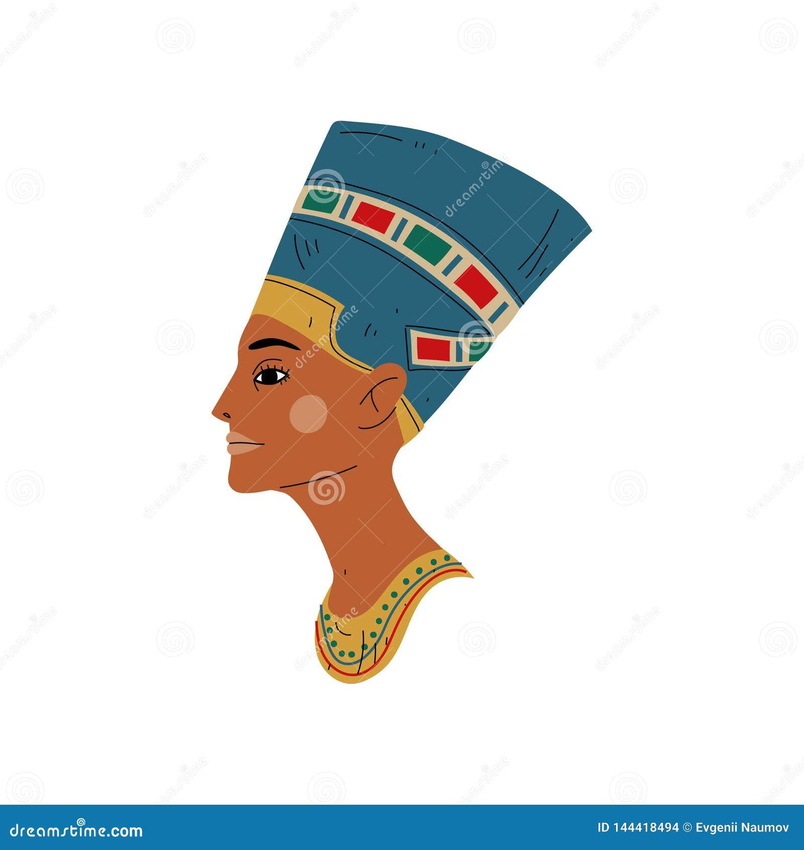 Byst av Nefertiti, symbol av den forntida egyptiska kulturvektorillustrationen