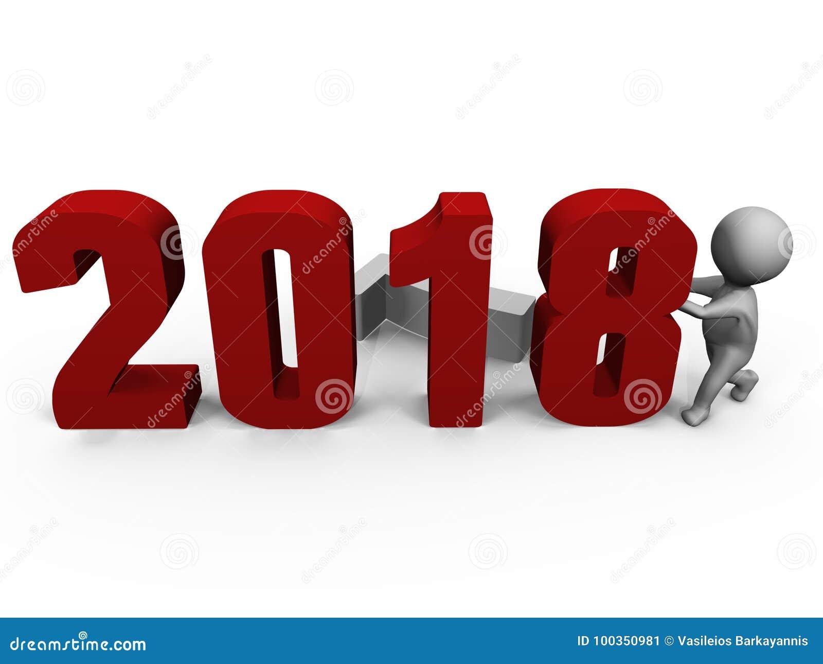 Byta ut nummer för att bilda det nya året 2018 - en bild 3d