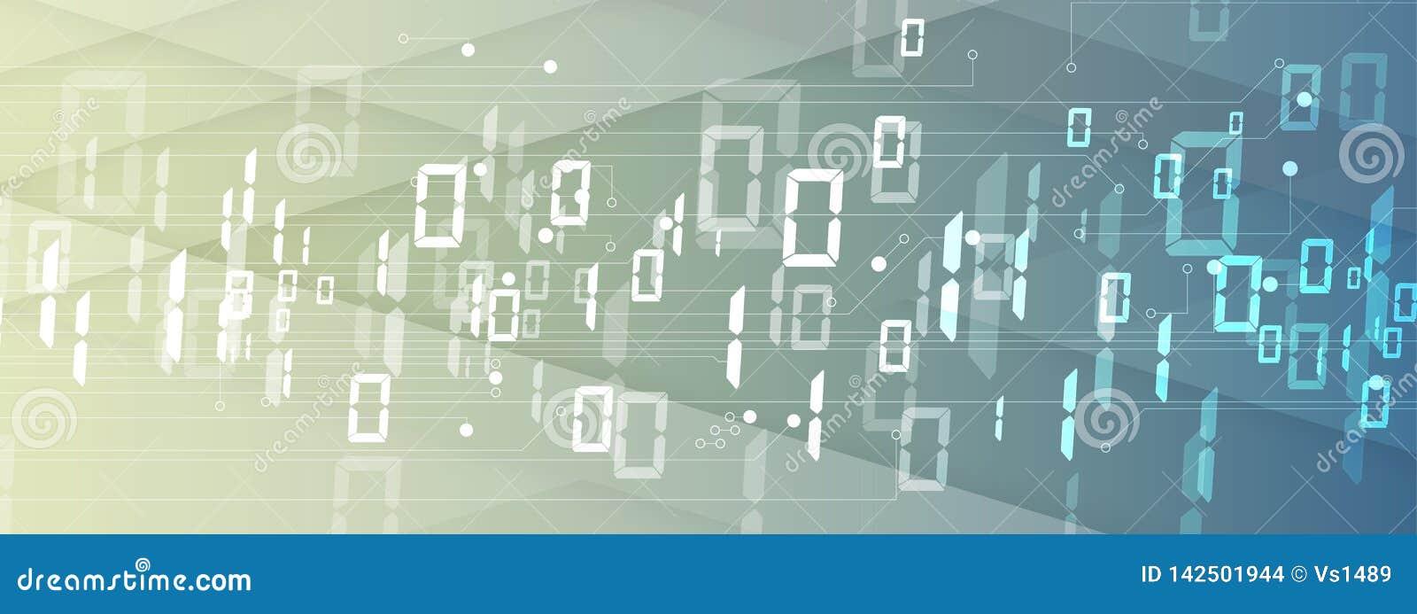 Byte della rete passata di codice binario Syberspace futuristico astratto di tecnologia