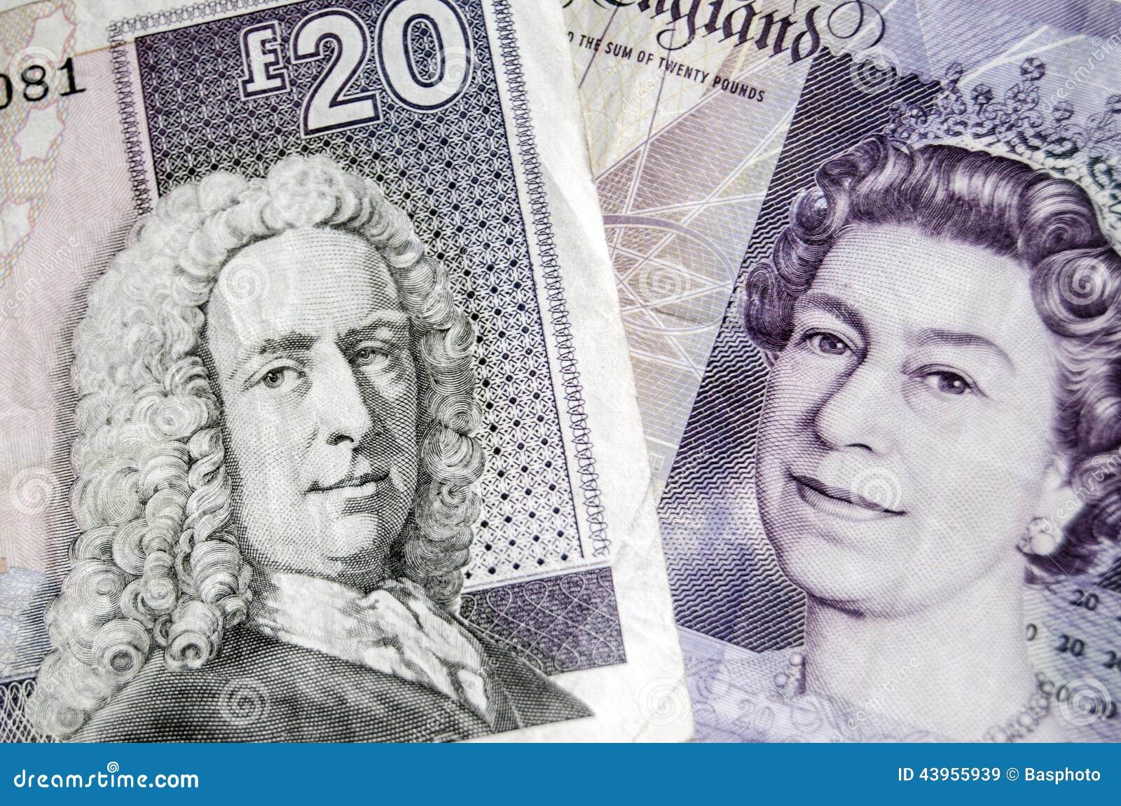 Os detalhes de uma nota de vinte libras emitiram por Royal Bank de Escócia e de uma nota para vinte libras produzidas pelo Banco da Inglaterra O referendo ... - c%25C3%25A9dulas-escocesas-e-inglesas-43955939