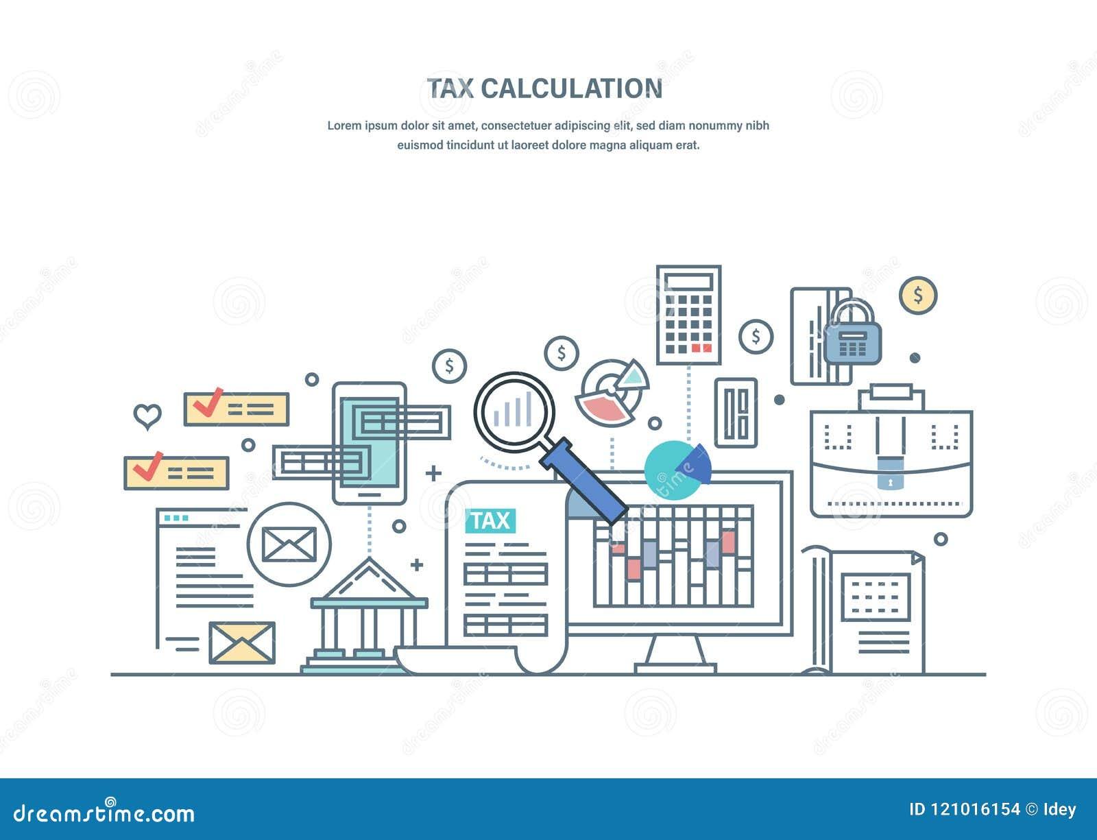 Cálculos financeiros do imposto, pesquisa explicando, contando o lucro, renda, auditoria do negócio