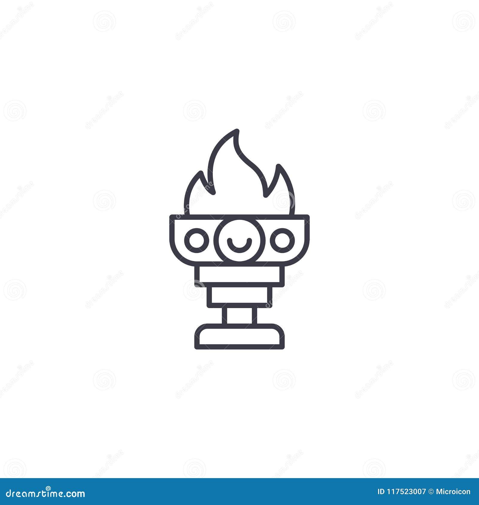 Cálice do vencedor do conceito linear do ícone do fogo Cálice do vencedor da linha de fogo sinal do vetor, símbolo, ilustração