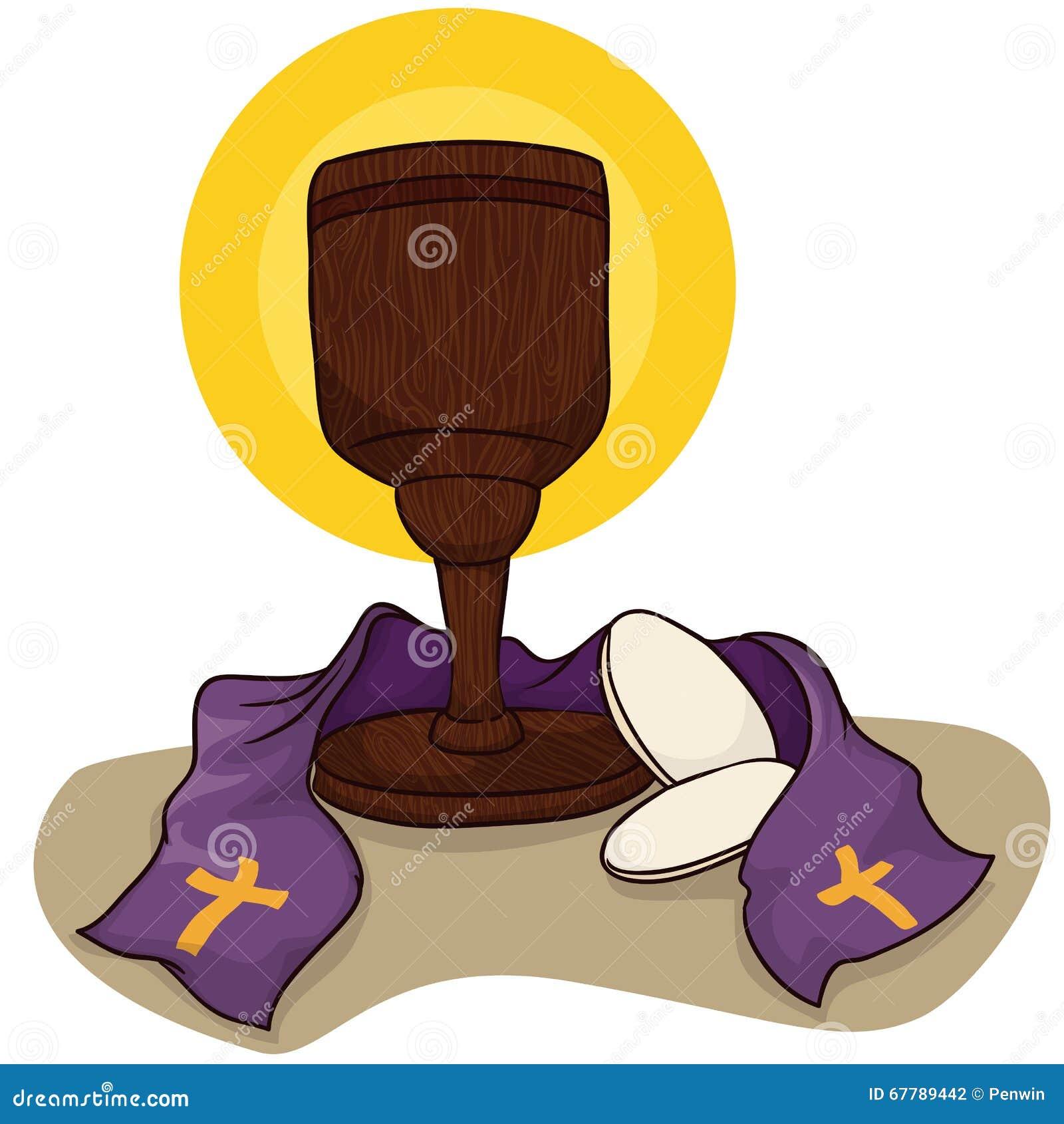 Cáliz católica con los panes y la estola, ejemplo de la comunión del vector