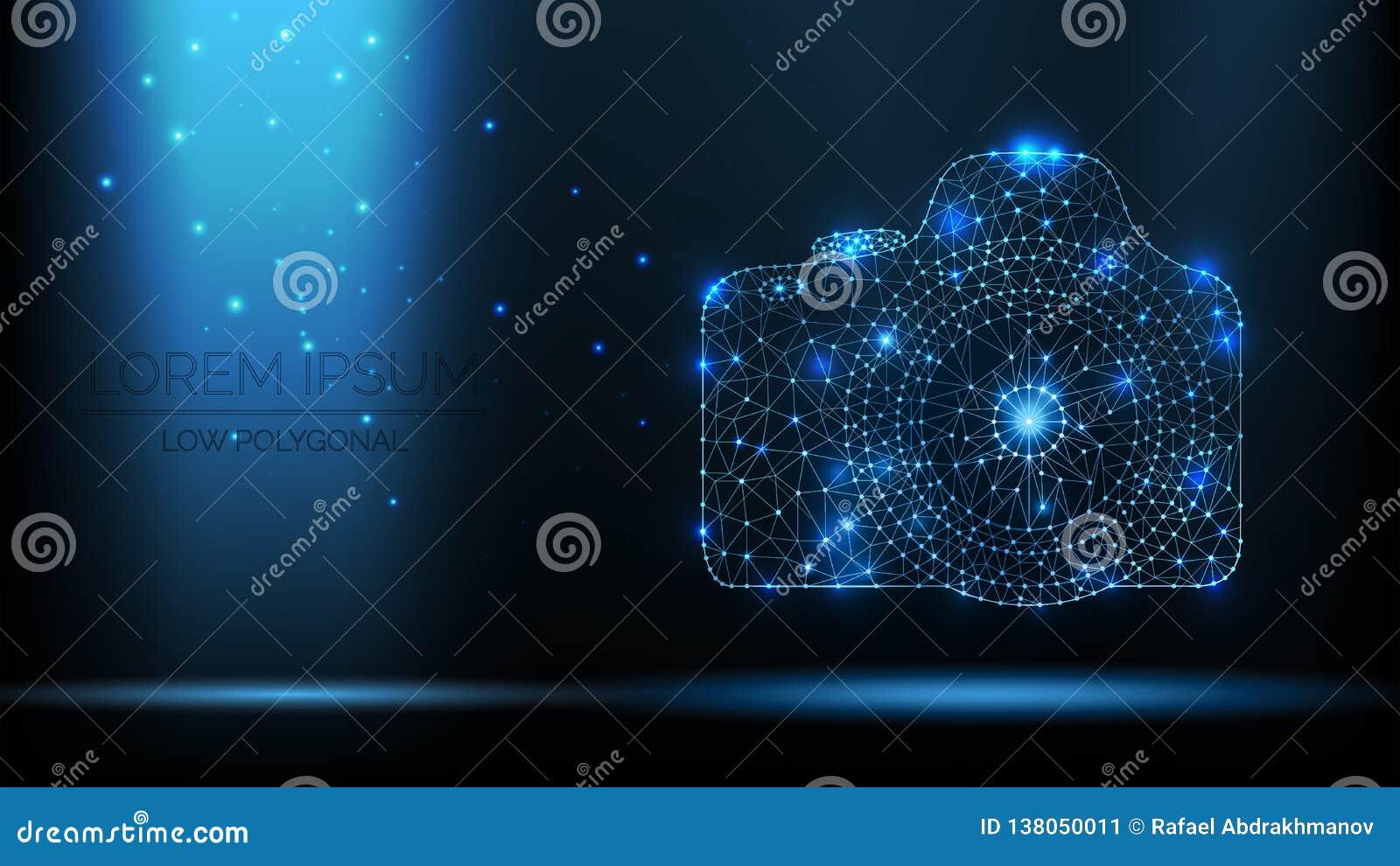 Cámara abstracta de la foto de SLR del wireframe del vector ejemplo moderno 3d en fondo azul marino Parecer poligonales bajos del