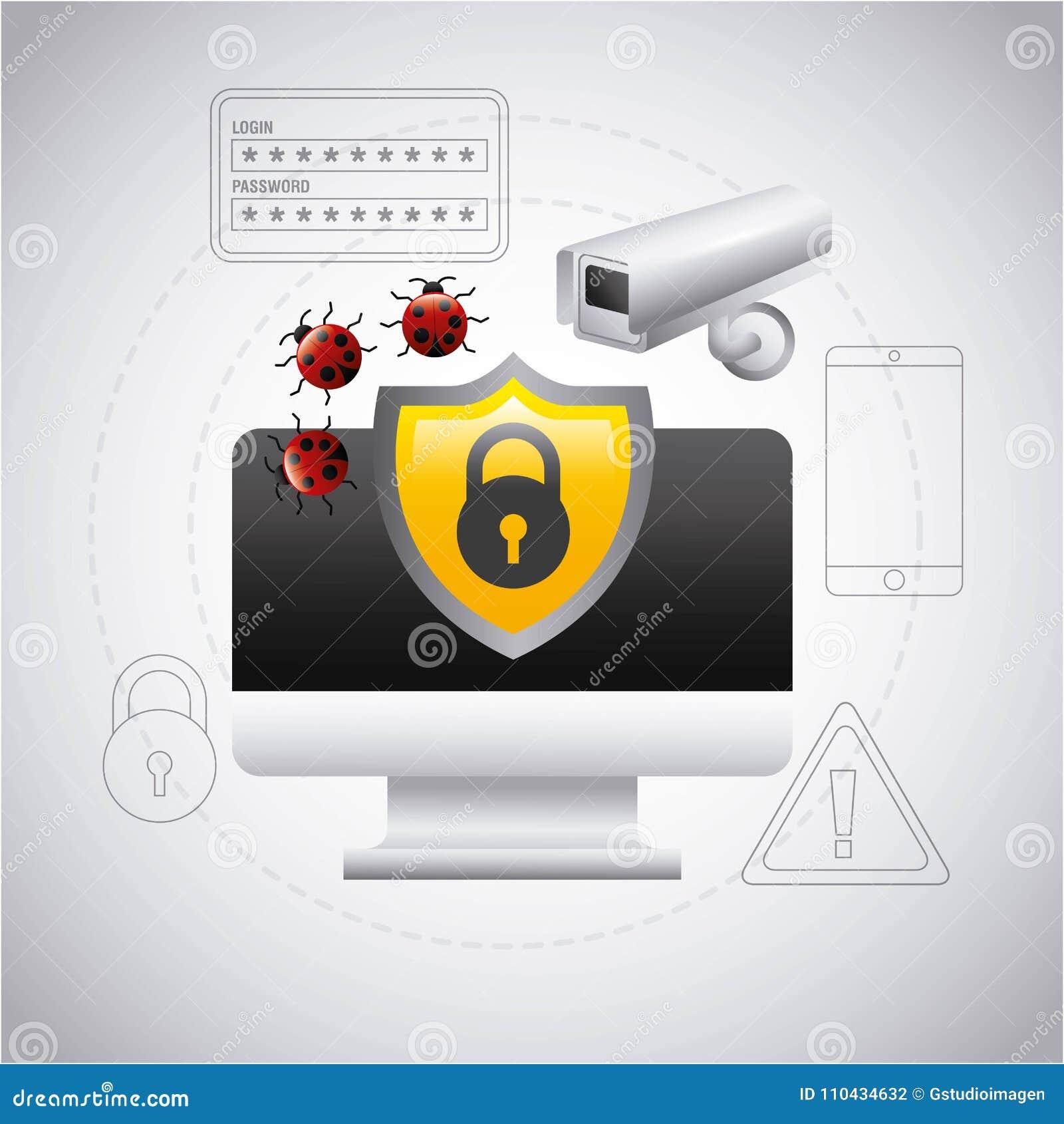 Cámara del virus de la seguridad de la protección del escudo de la pantalla de ordenador