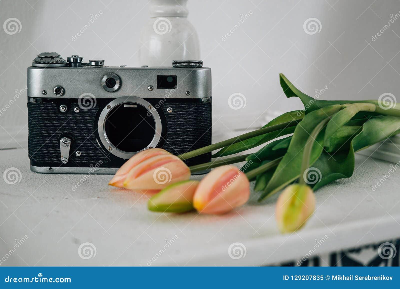 Cámara retra con las flores en el sitio blanco