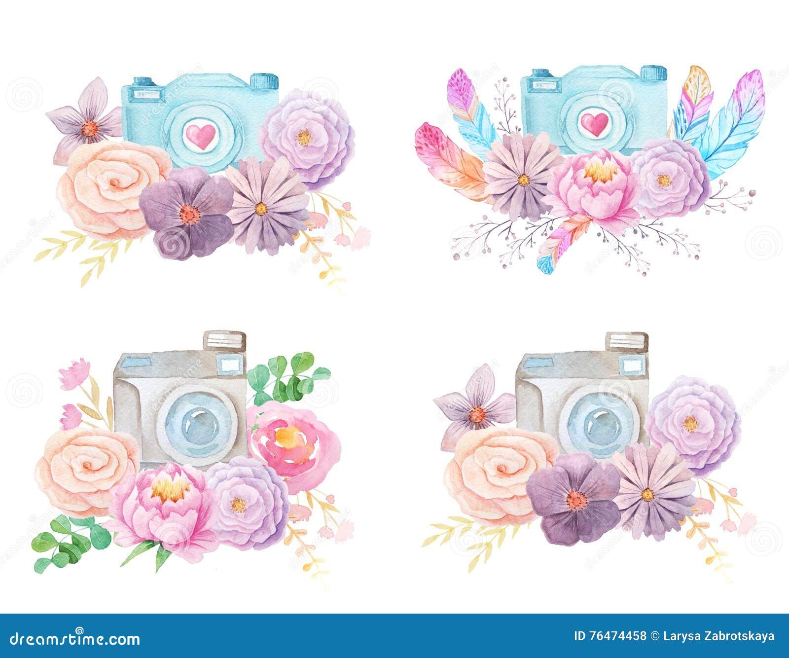 Cámara y flores de la acuarela