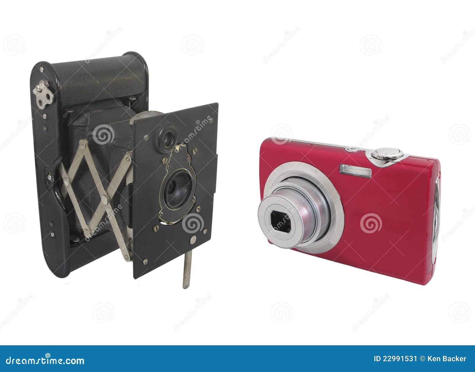 C maras modernas y antiguas aisladas imagen de archivo for Objetos de decoracion modernos