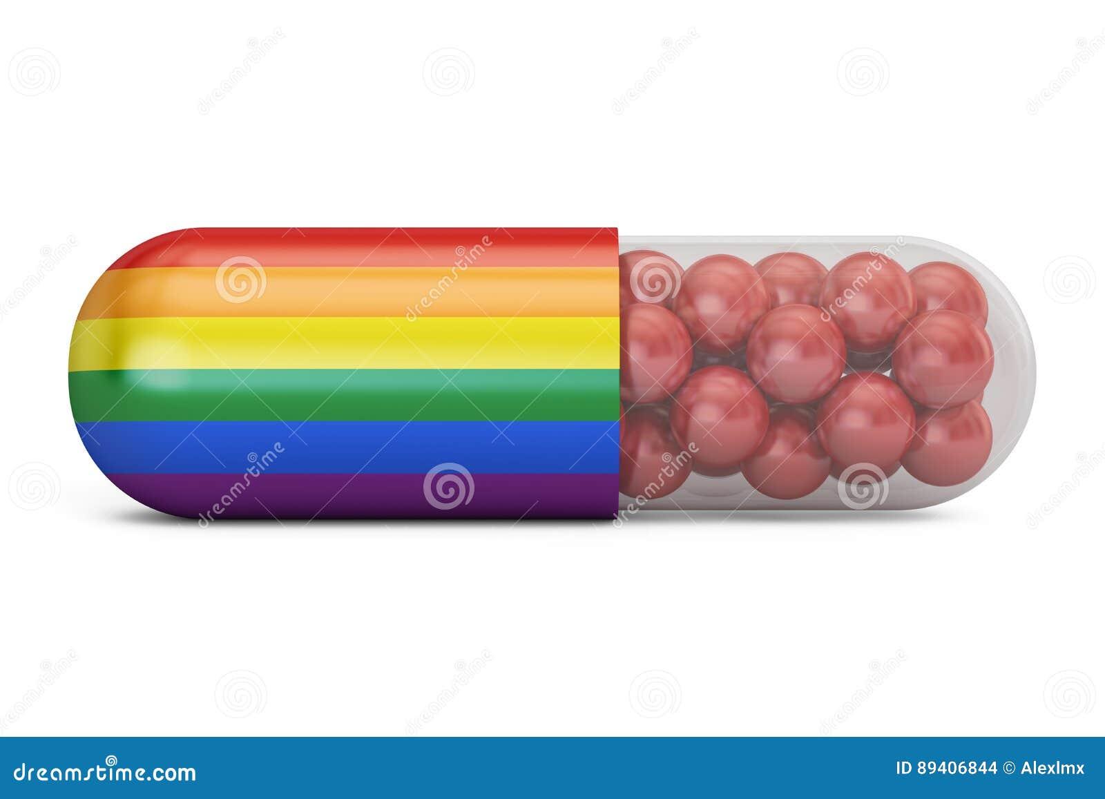 Cápsula do comprimido com a bandeira alegre do arco-íris, 3D