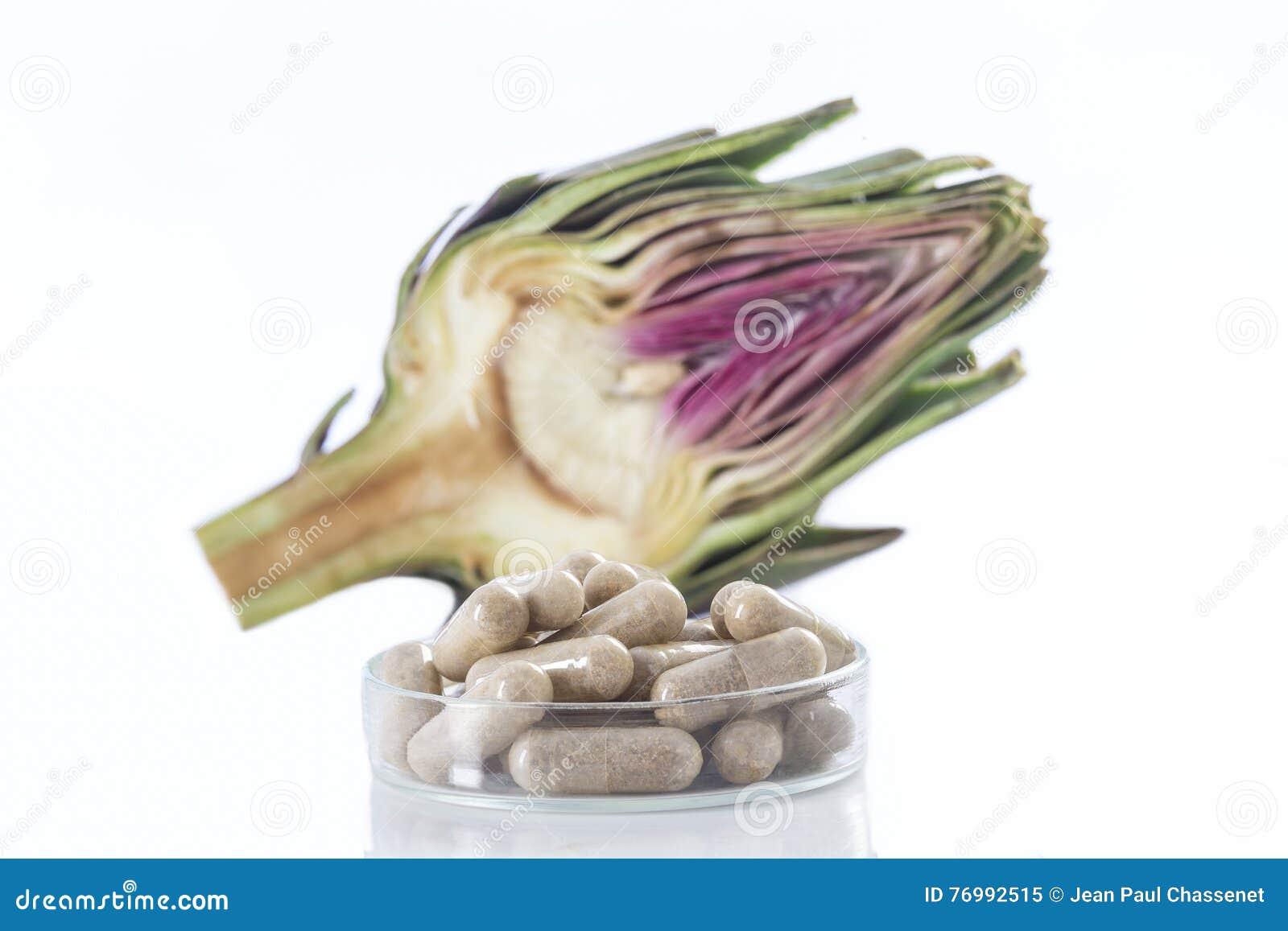 Cápsulas del extracto de la hoja de la alcachofa tabletas, y ampollas