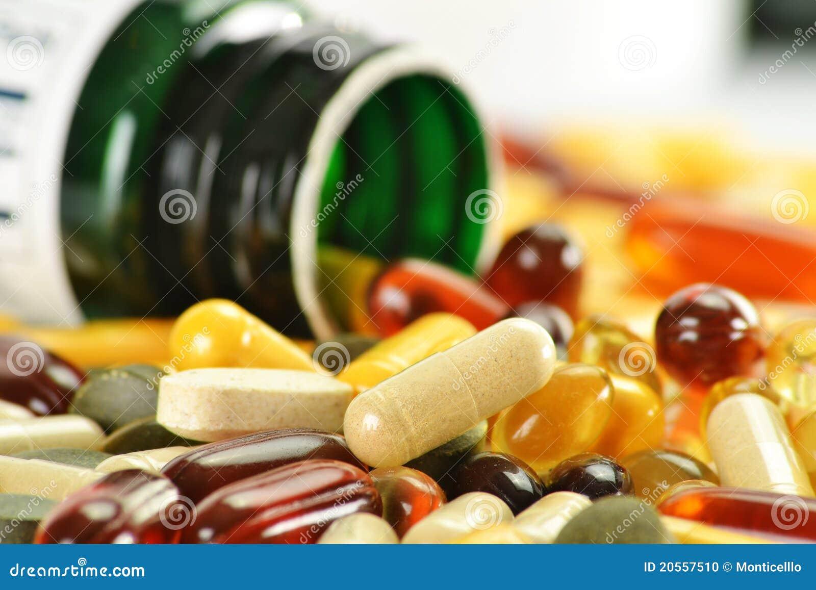 Cápsulas e recipientes dietéticos do suplemento