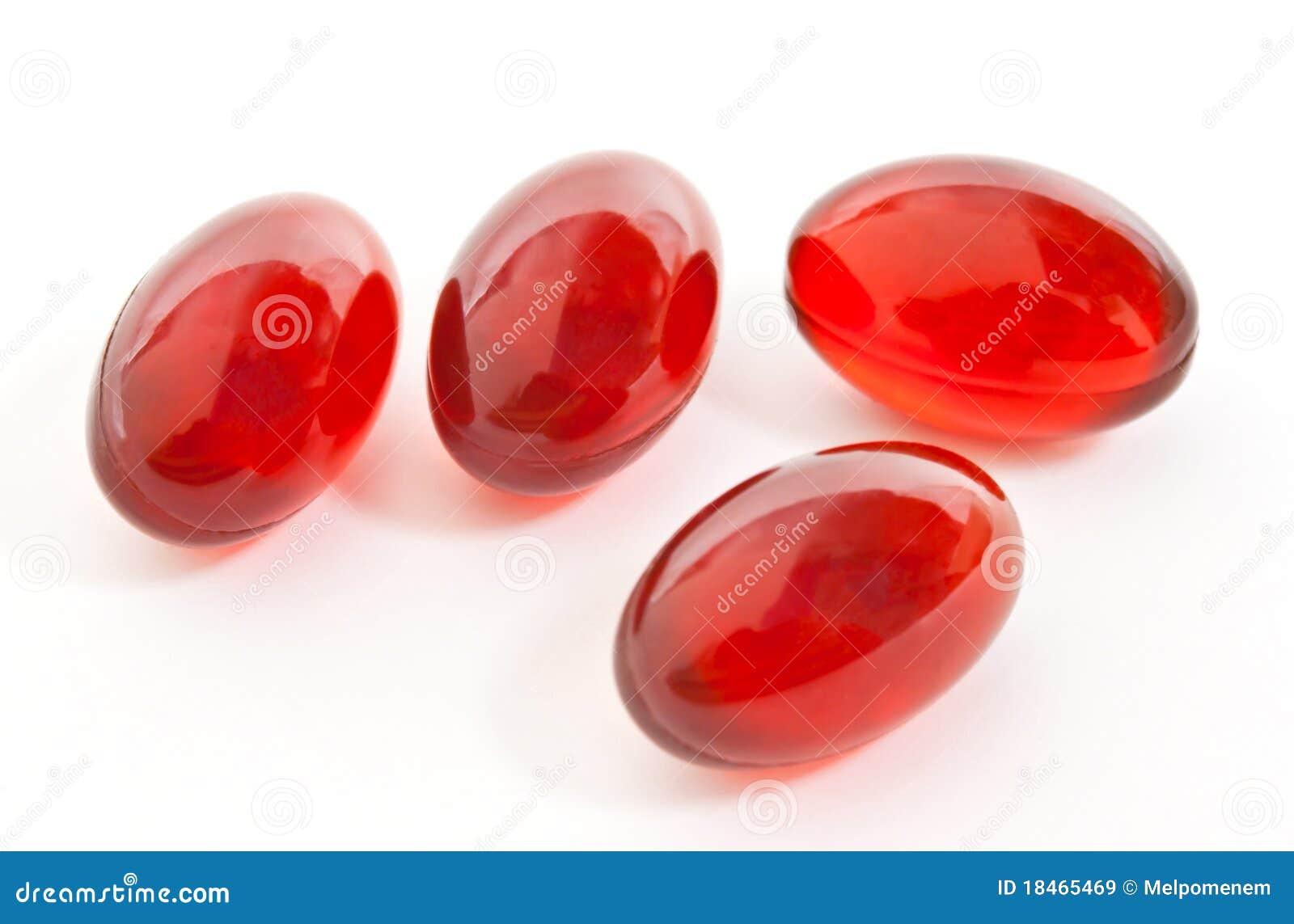 Cápsulas vermelhas do gel