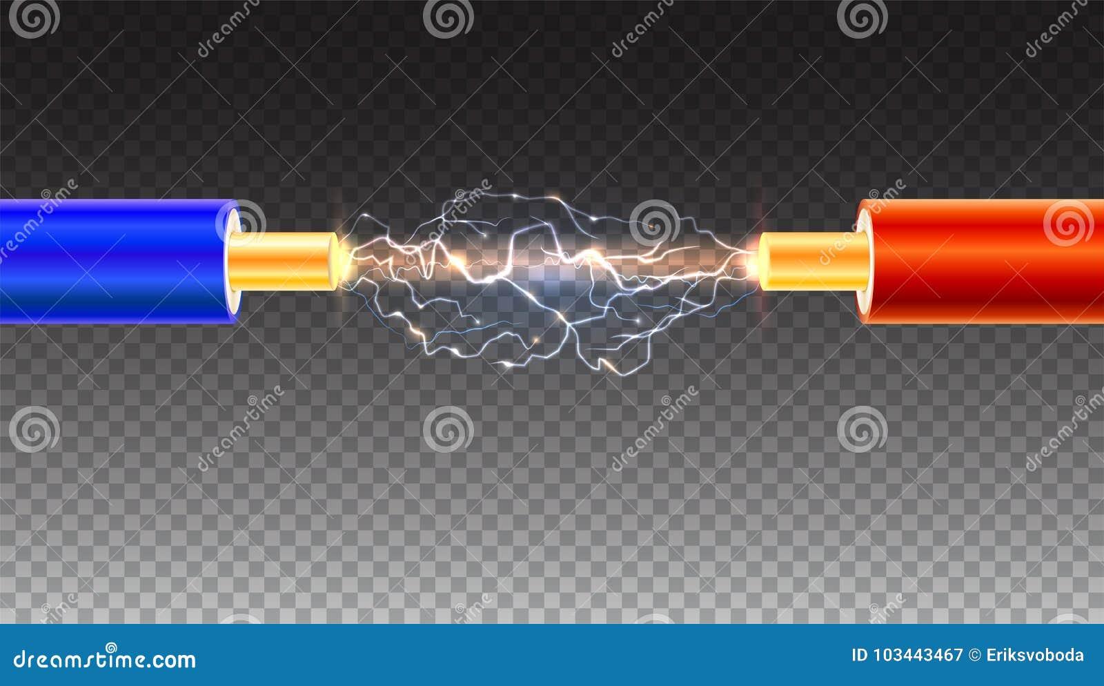 Câble électrique avec des étincelles sur le fond transparent Câble électrique de cuivre dans l isolation colorée