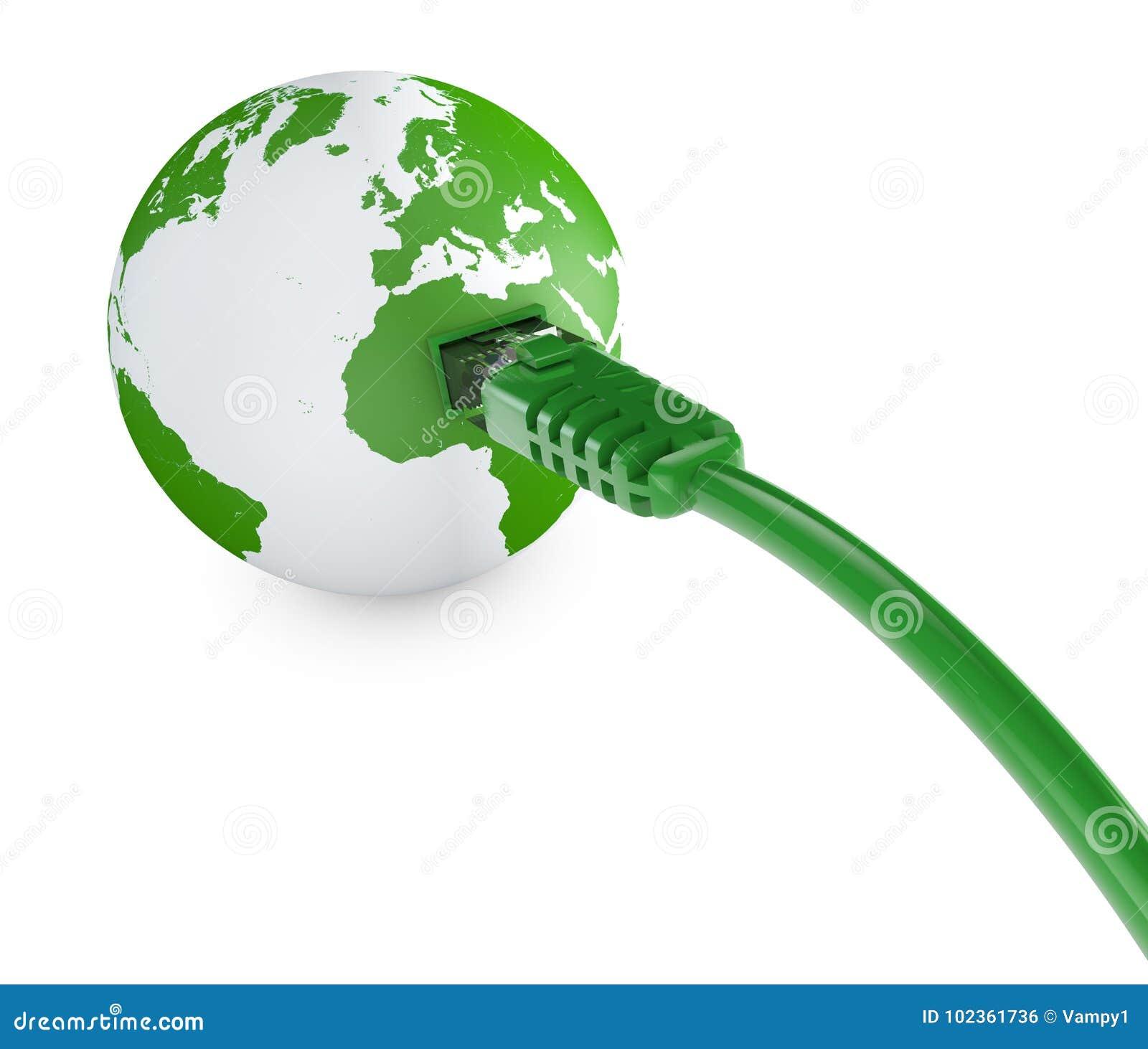 Câble Ethernet, connexion internet, largeur de bande Le monde sur le Web Connexions du monde, globe
