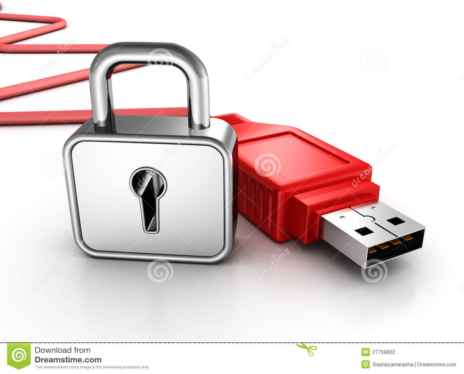 Câble rouge d usb avec le cadenas. concept de protection des données