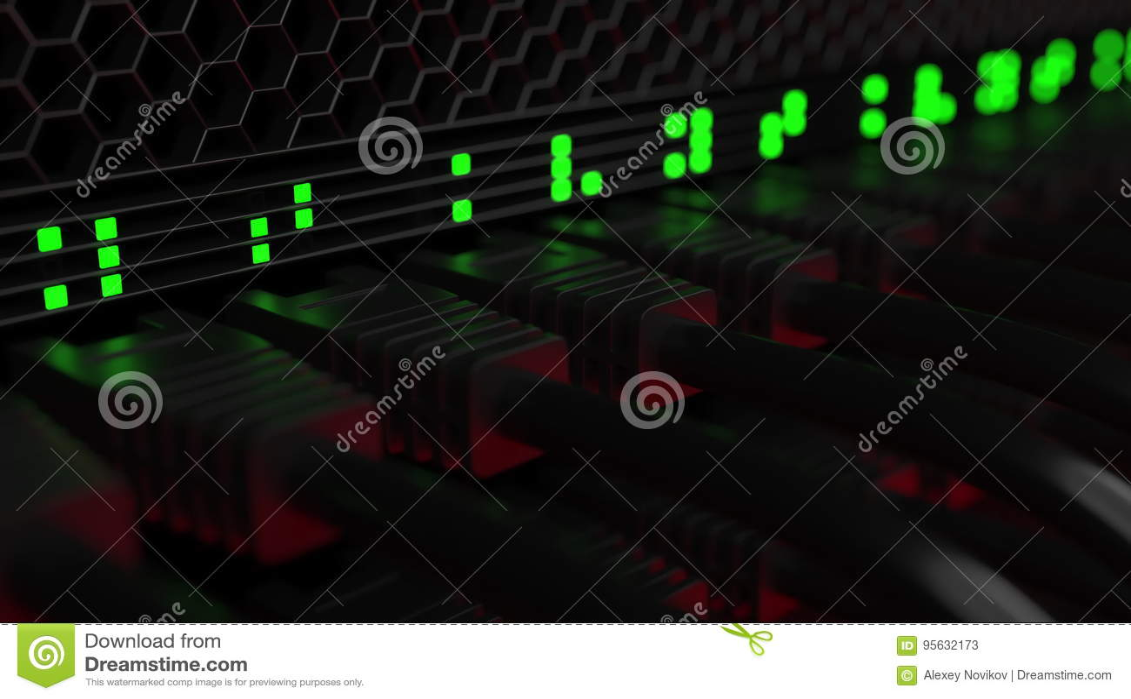 Câbles de serveur et lampes de clignotement Technologie de nuage ou concepts modernes d équipement de réseau d entreprise rendu 3