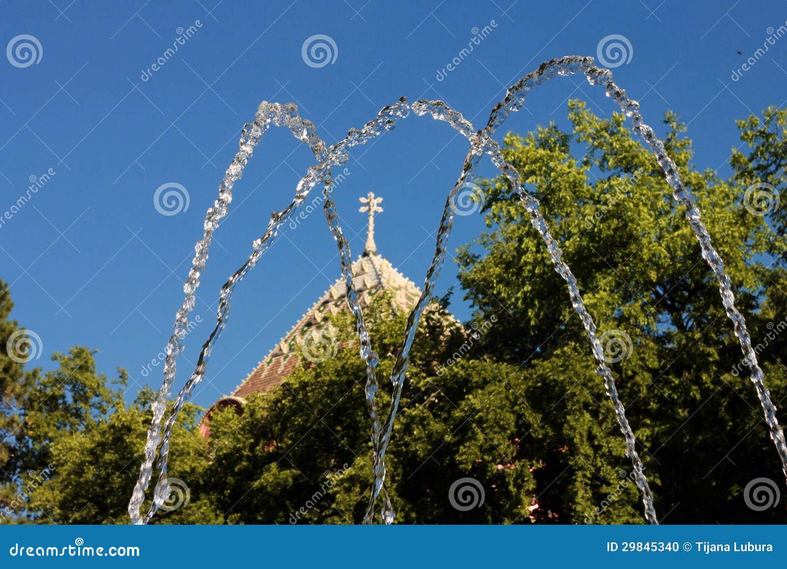 Câmara municipal, árvore e água em Subotica