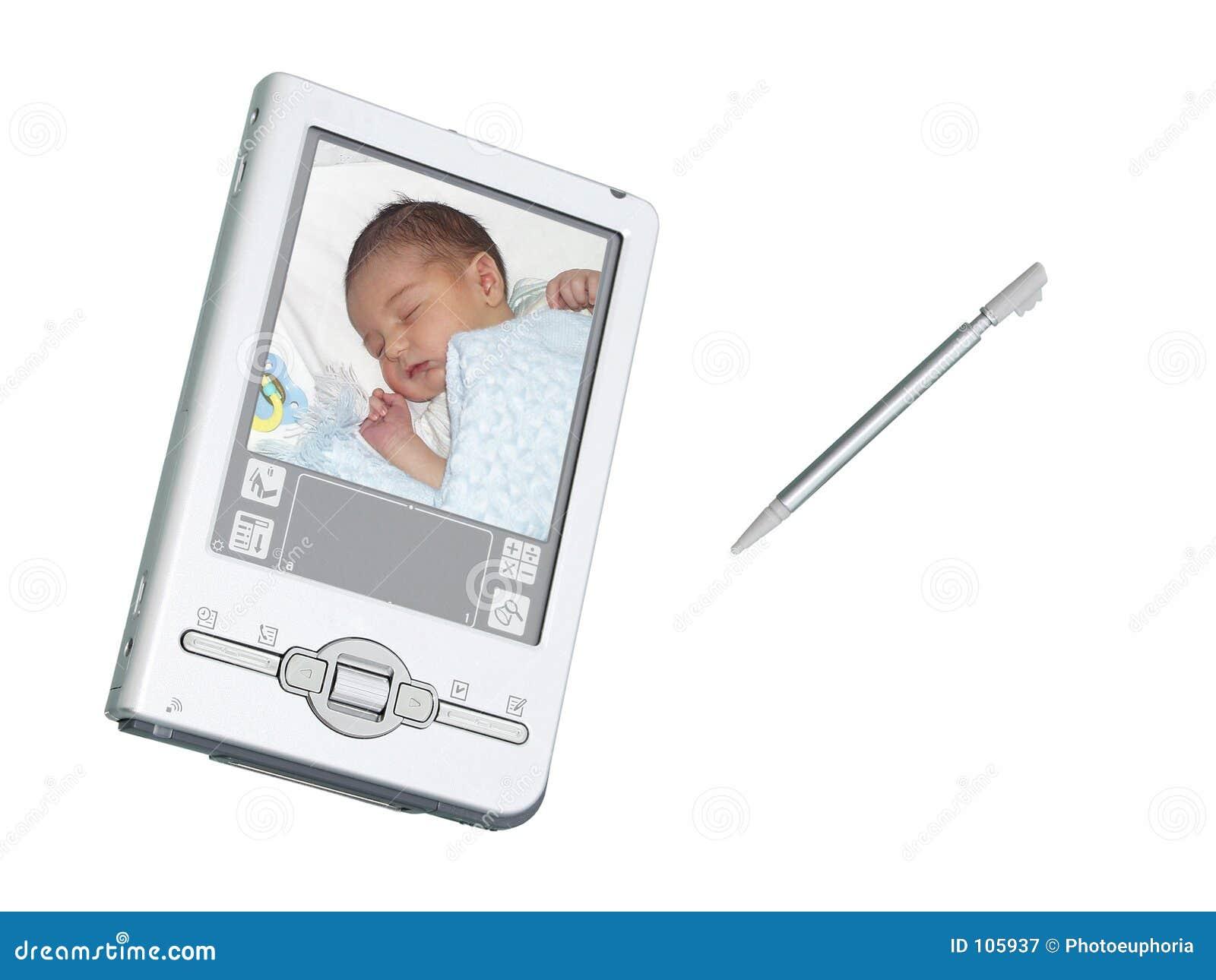 Câmera & estilete de Digitas PDA sobre o branco