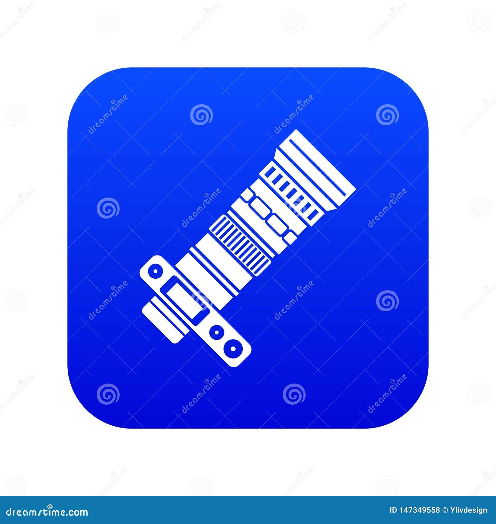 Câmera de Dslr com o azul digital do ícone da lente zoom