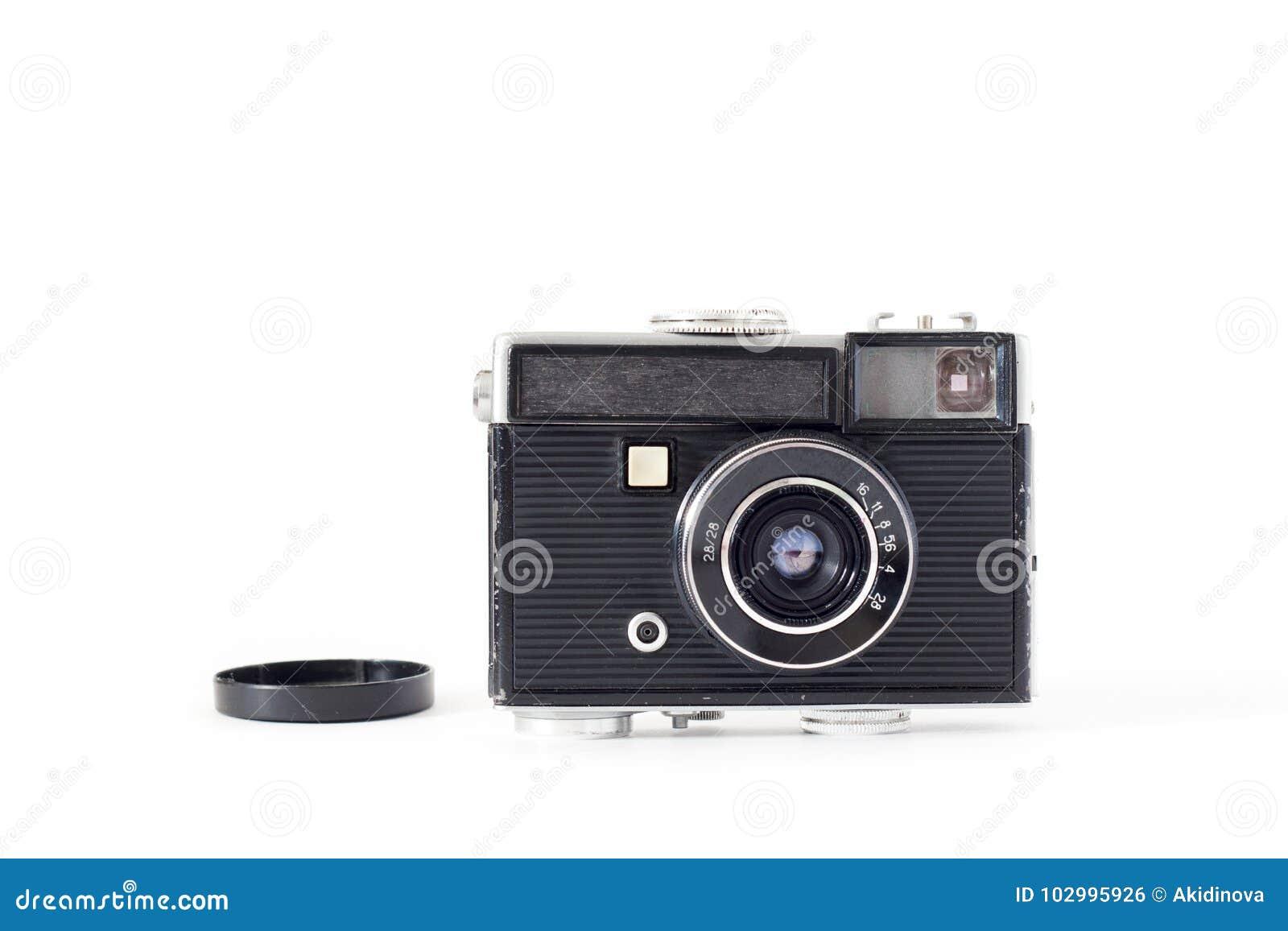 Câmera velha no fundo branco Configuração lisa, vista superior