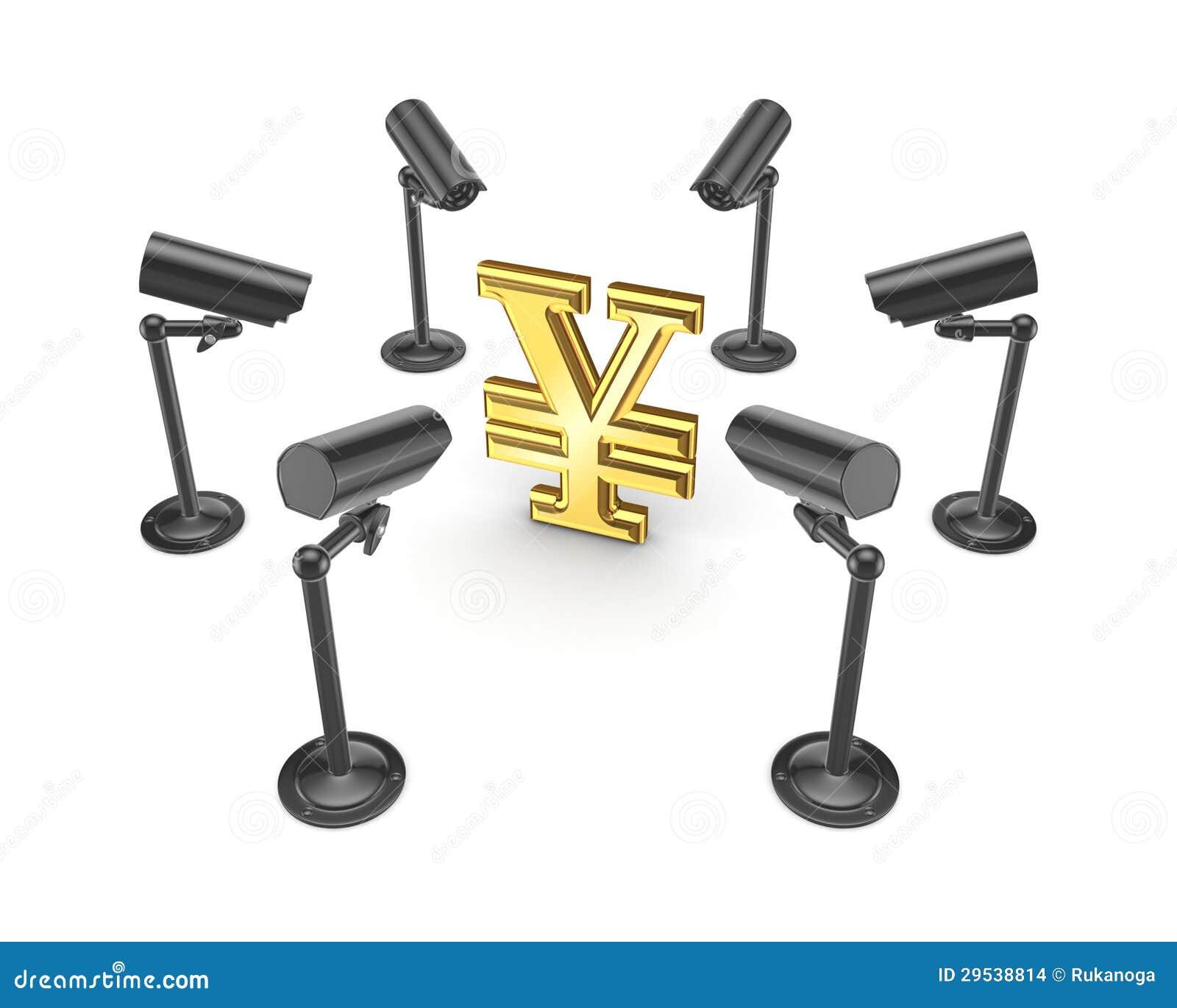 Câmeras da observação em torno do símbolo dos ienes.