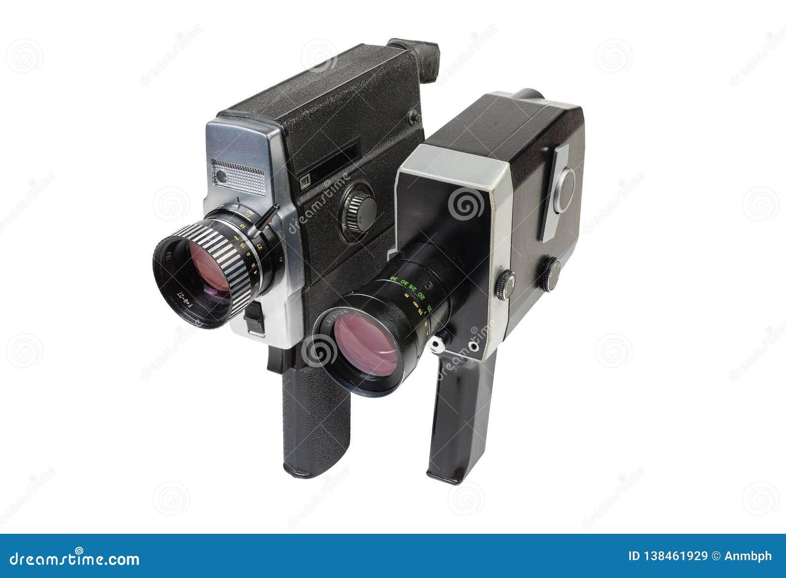 Câmeras de filme mecânicas do vintage e elétricas amadoras no fundo branco
