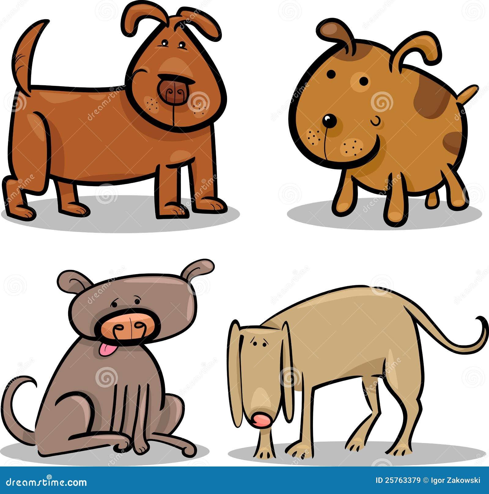 cães bonitos ou filhotes de cachorro dos desenhos animados ajustados