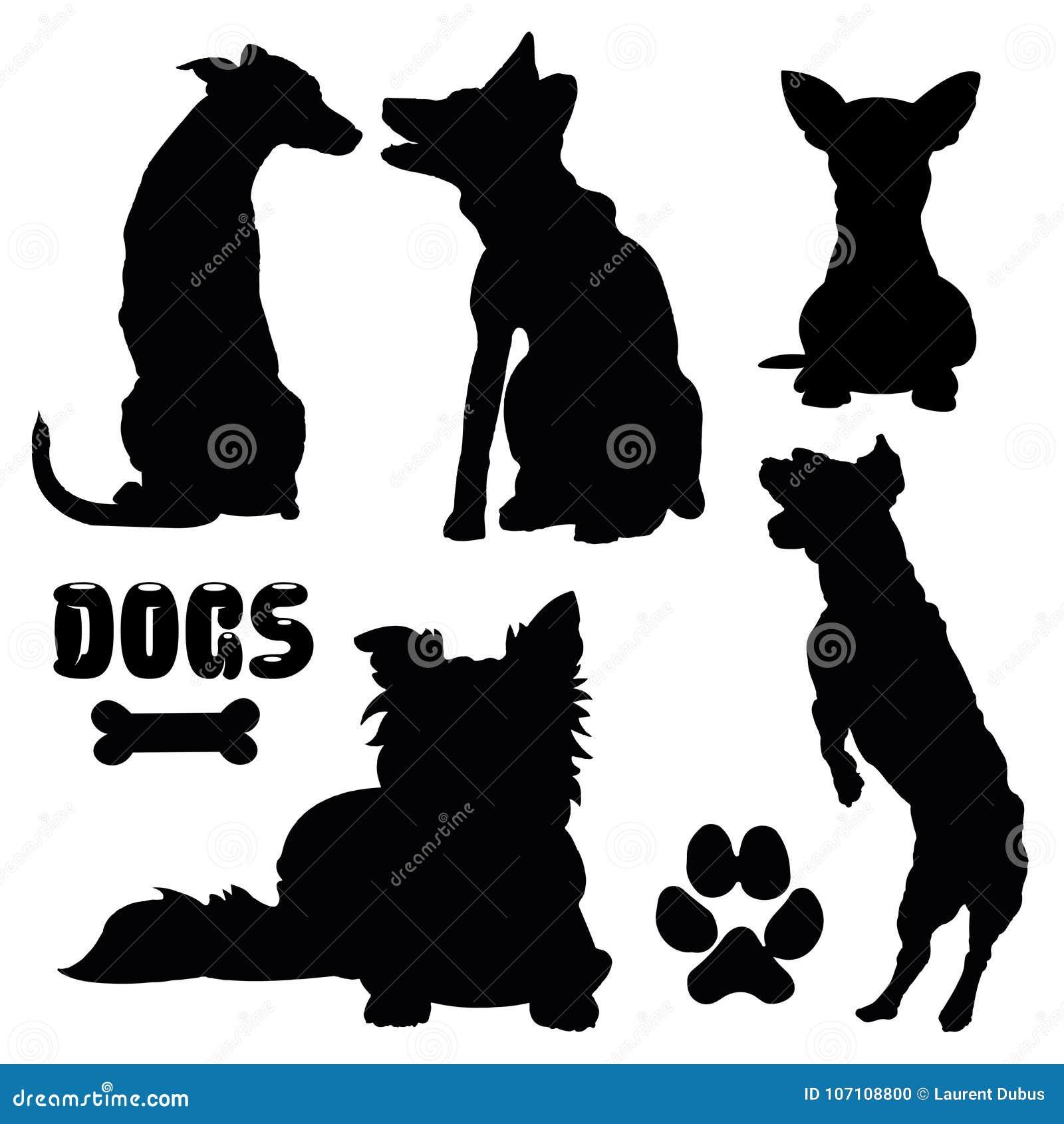 Cães de estimação, silhueta preta - coleção do vetor