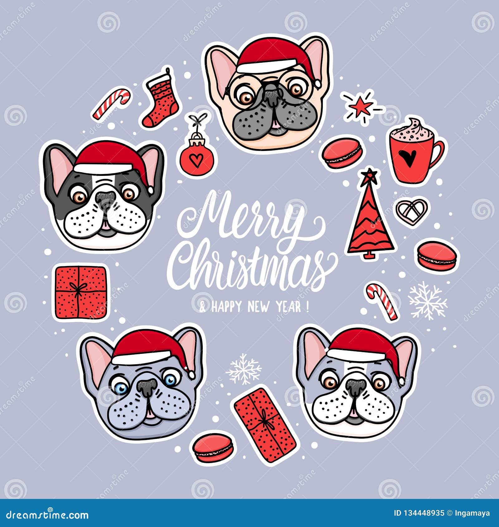 Cães em chapéus do Feliz Natal Quadro de cartão com rotulação Projeto do feriado da ilustração do vetor Etiquetas tiradas mão do