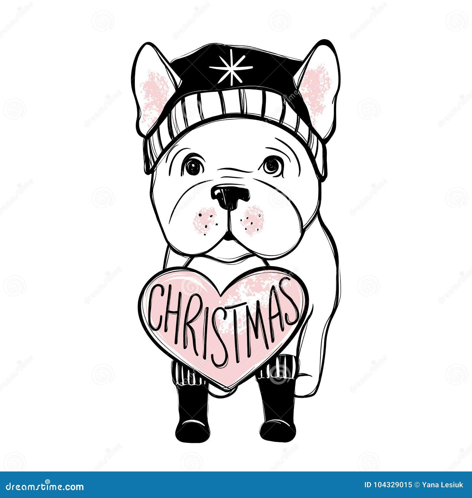 cão bonito do vetor na roupa do inverno cachorrinho do buldogue