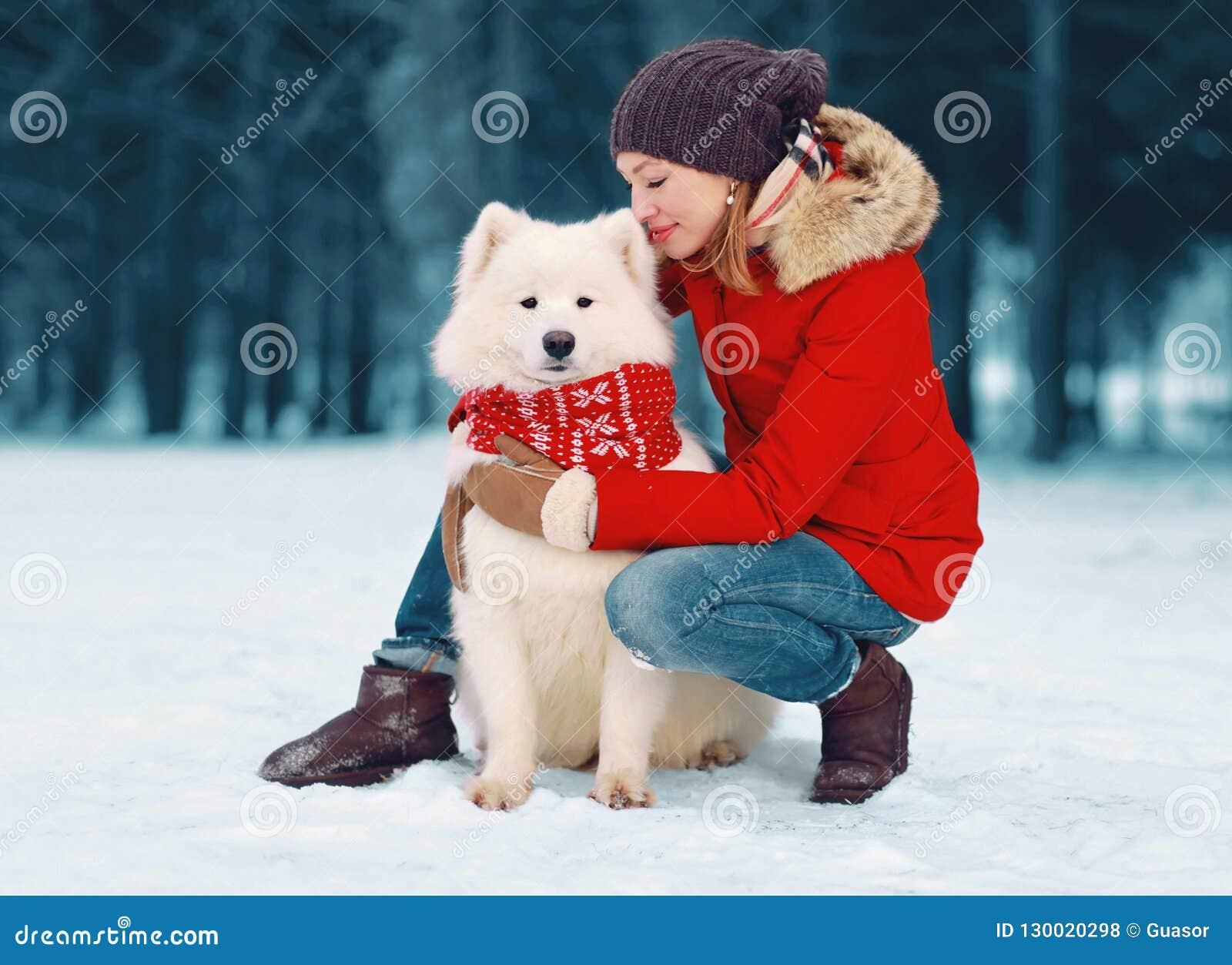 Cão branco de inquietação feliz do Samoyed do abraço da jovem mulher no inverno