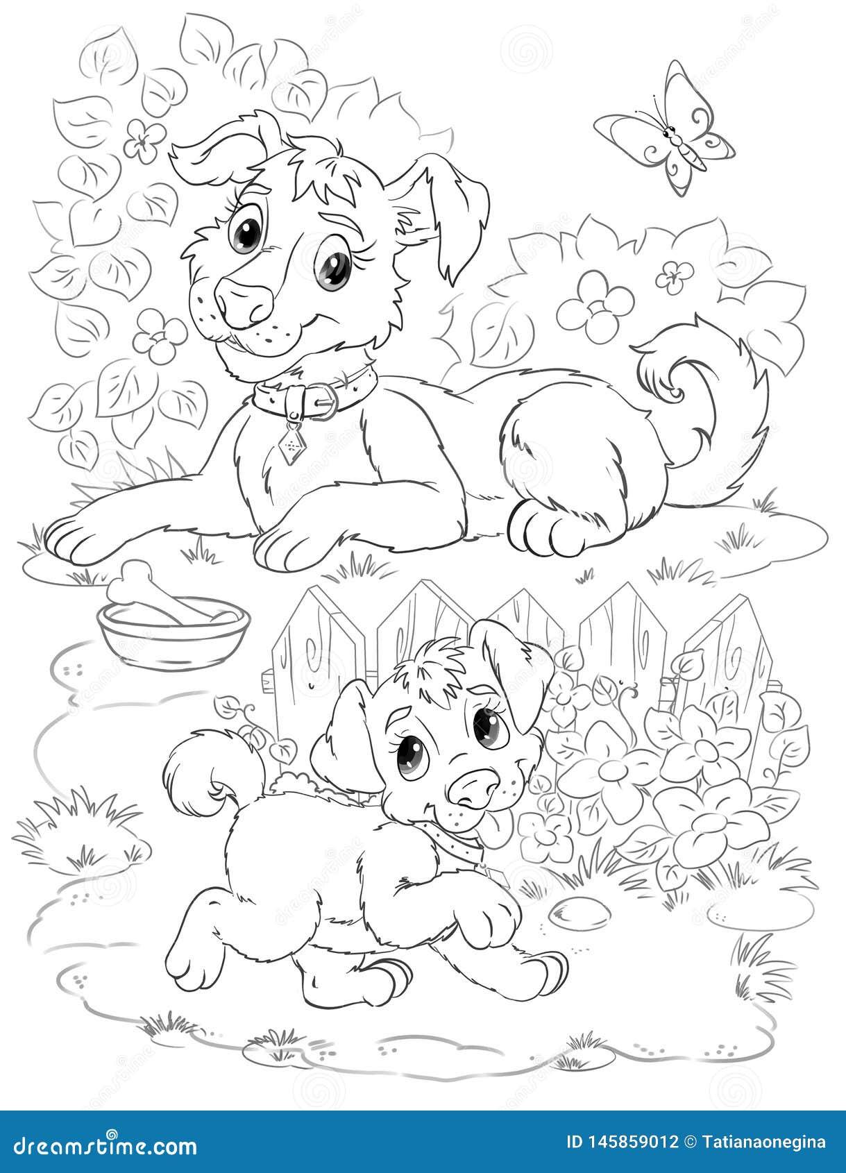 C O Da M E Com O Cachorrinho Na Arte Dos Desenhos Animados Do