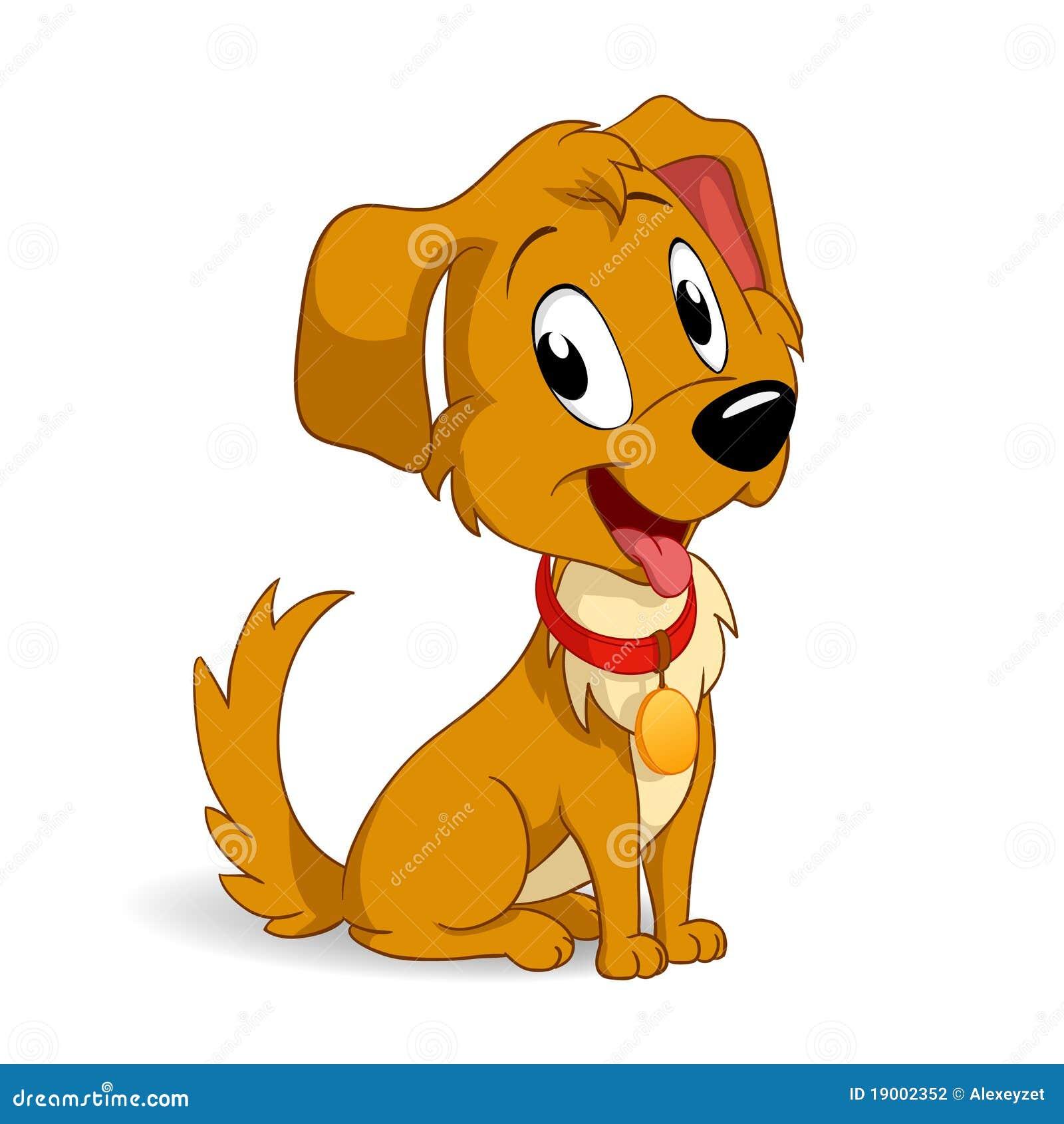 Cao De Filhote De Cachorro Bonito Dos Desenhos Animados Ilustracao