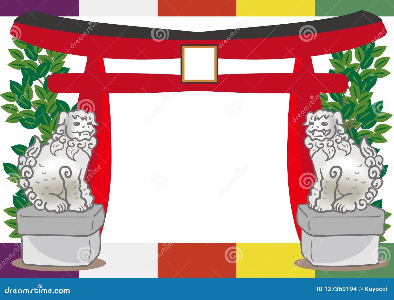 Cão de Torii e de guardião - quadro xintoísmo japonês