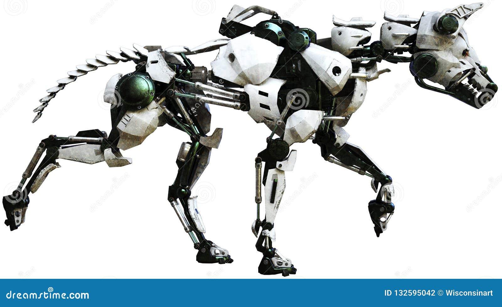 Cão do robô, máquina mecânica, isolada