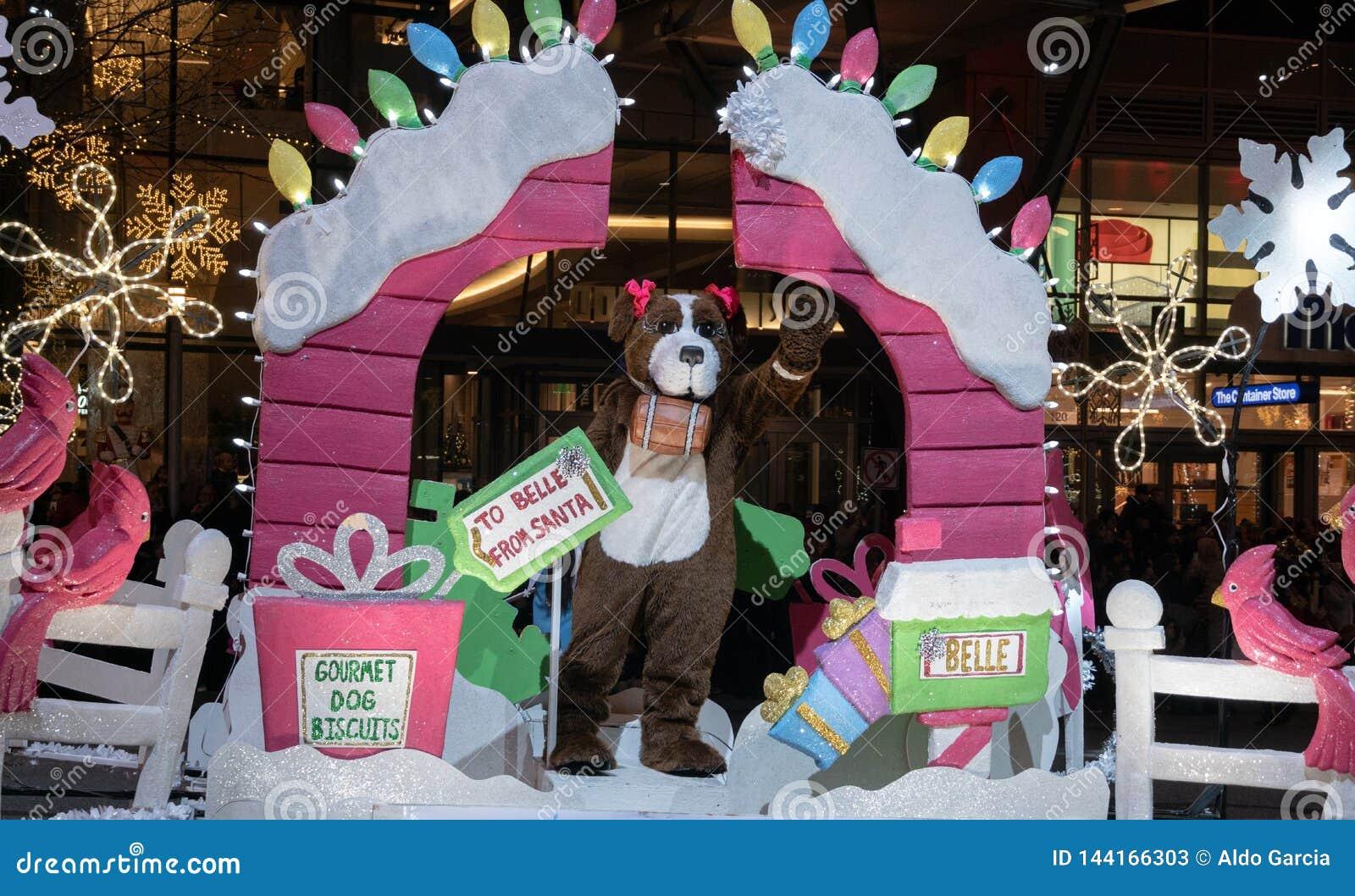 Cão na parada do Natal de Bellevue