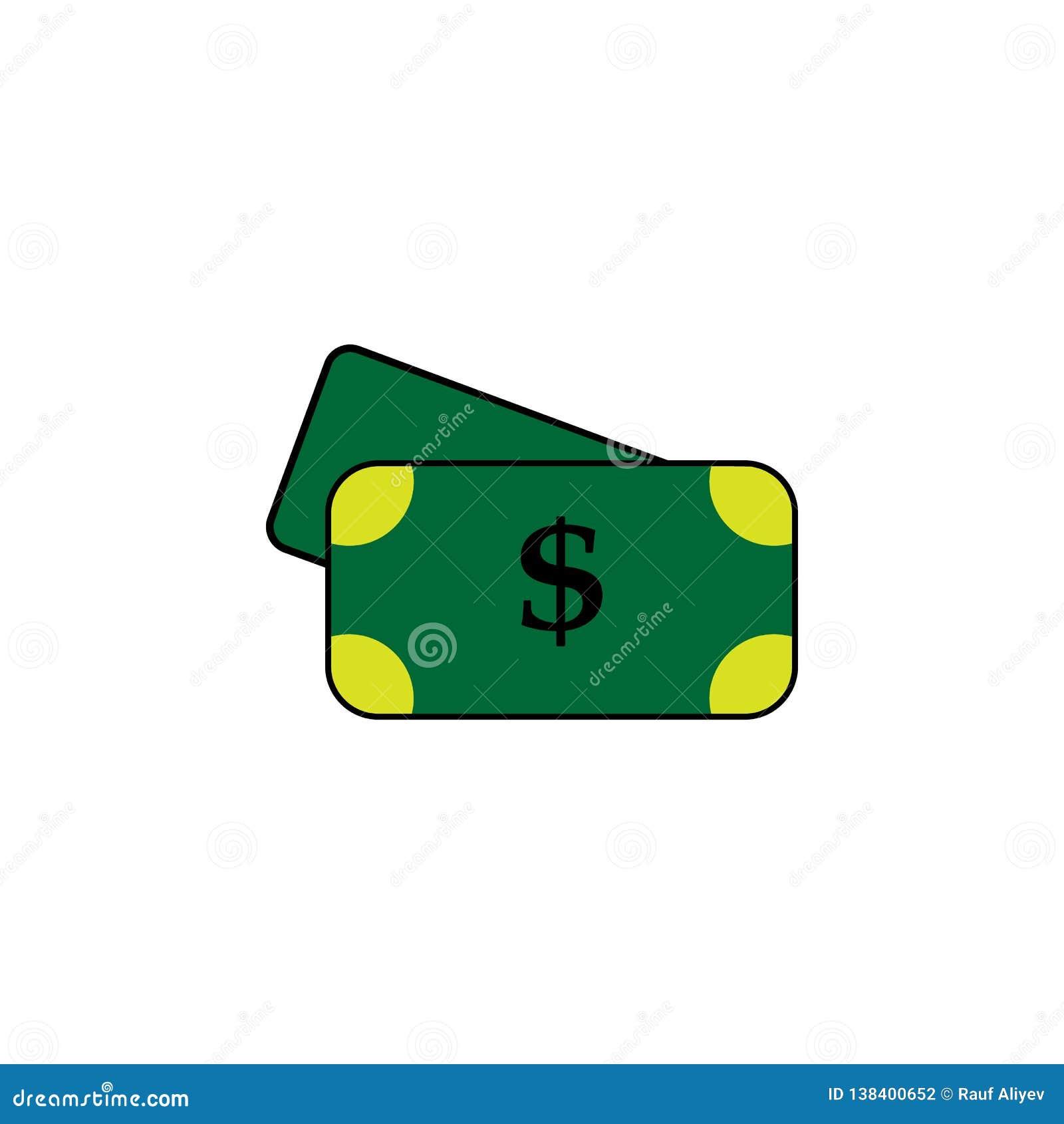 Cédula, dólar Elemento do ícone do casino para apps móveis do conceito e da Web A cédula detalhada, dólar pode ser usada para a W