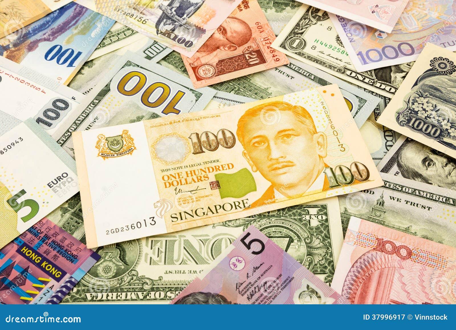 Cédula do dinheiro da moeda de Singapura e do mundo
