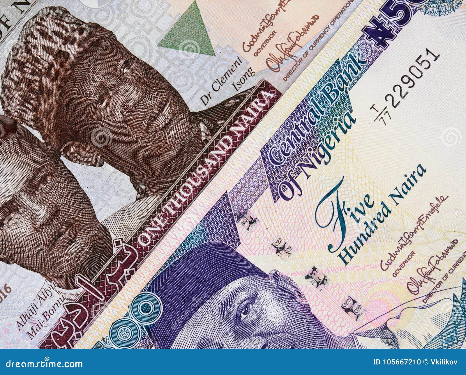 Cédulas centrais do naira nigeriano da moeda, dinheiro de Nigéria