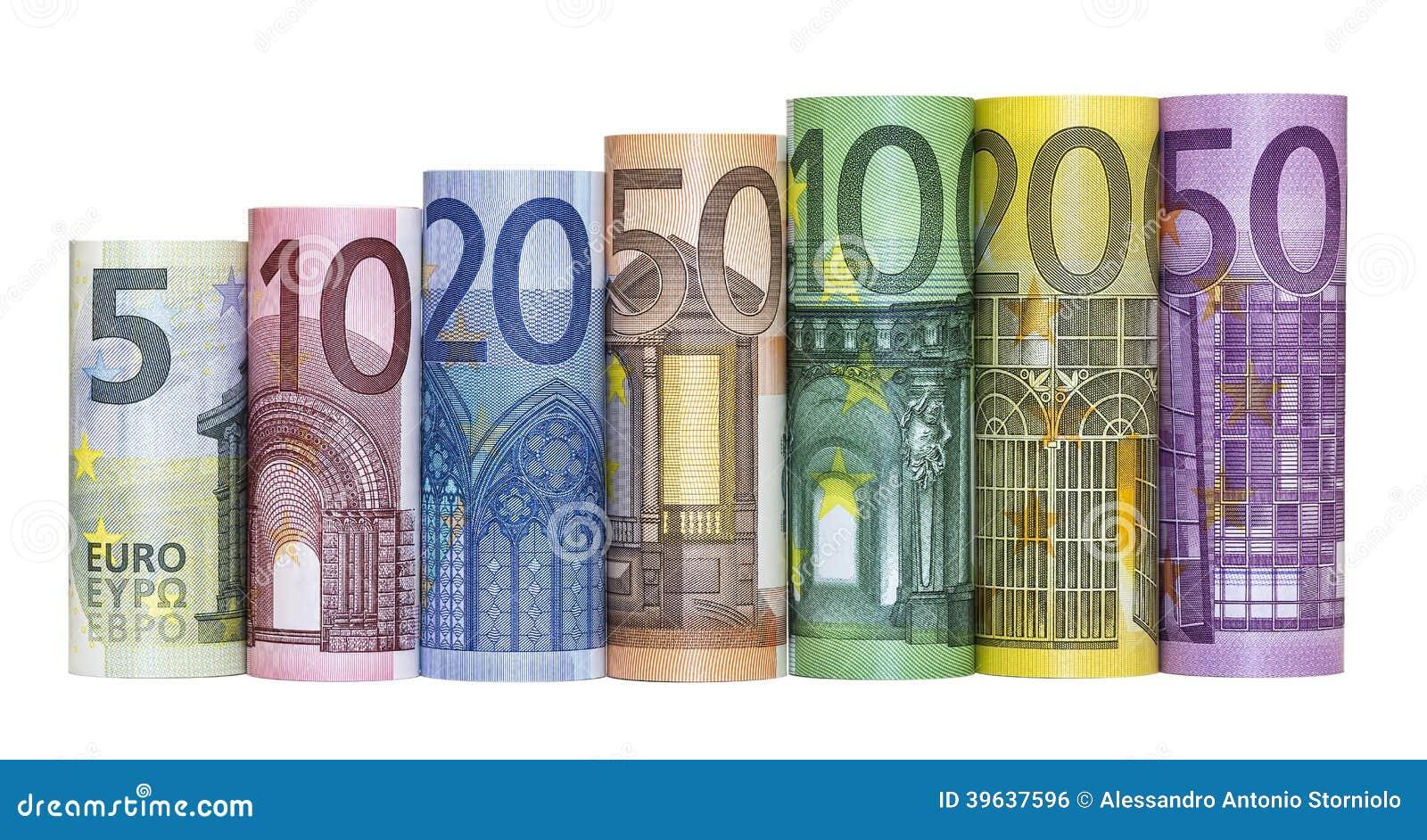 Cédulas do dinheiro do Euro