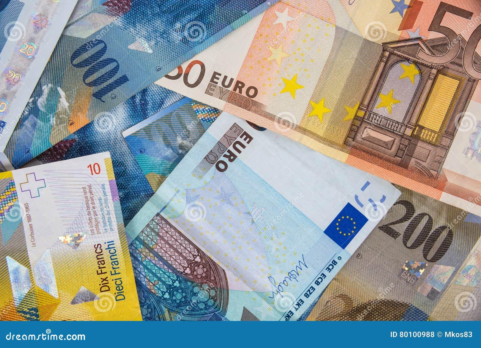Cédulas do EURO e do CHF como o fundo