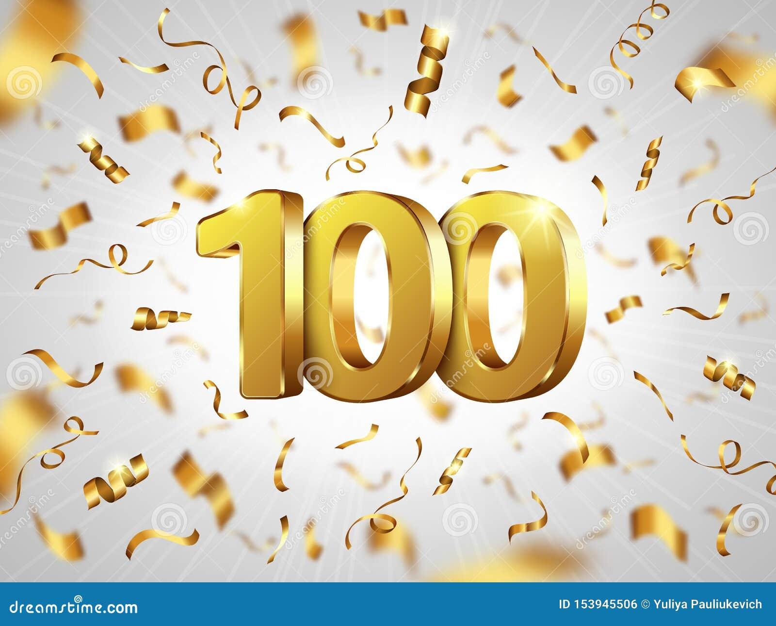 Celebration D Anniversaire De 100 Ans Banniere Realiste Illustration De Vecteur Illustration Du Banniere Realiste 153945506