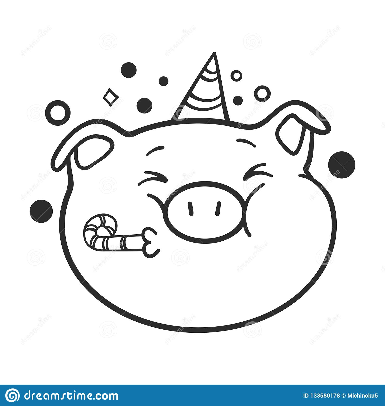 Célébration De L Icône D émoticône Un Porc Pour Livre De