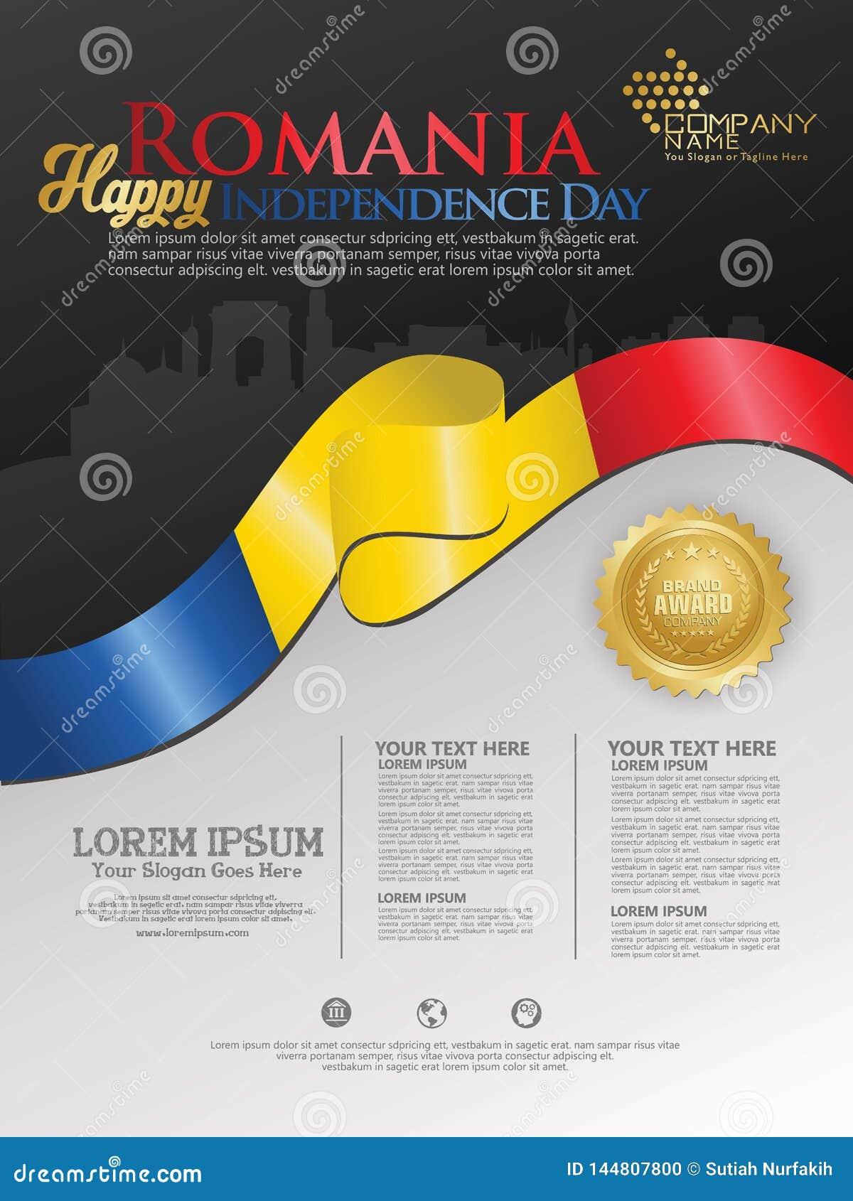 Célébration du Jour de la Déclaration d Indépendance de la Roumanie Drapeau de ondulation abstrait sur le calibre de fond