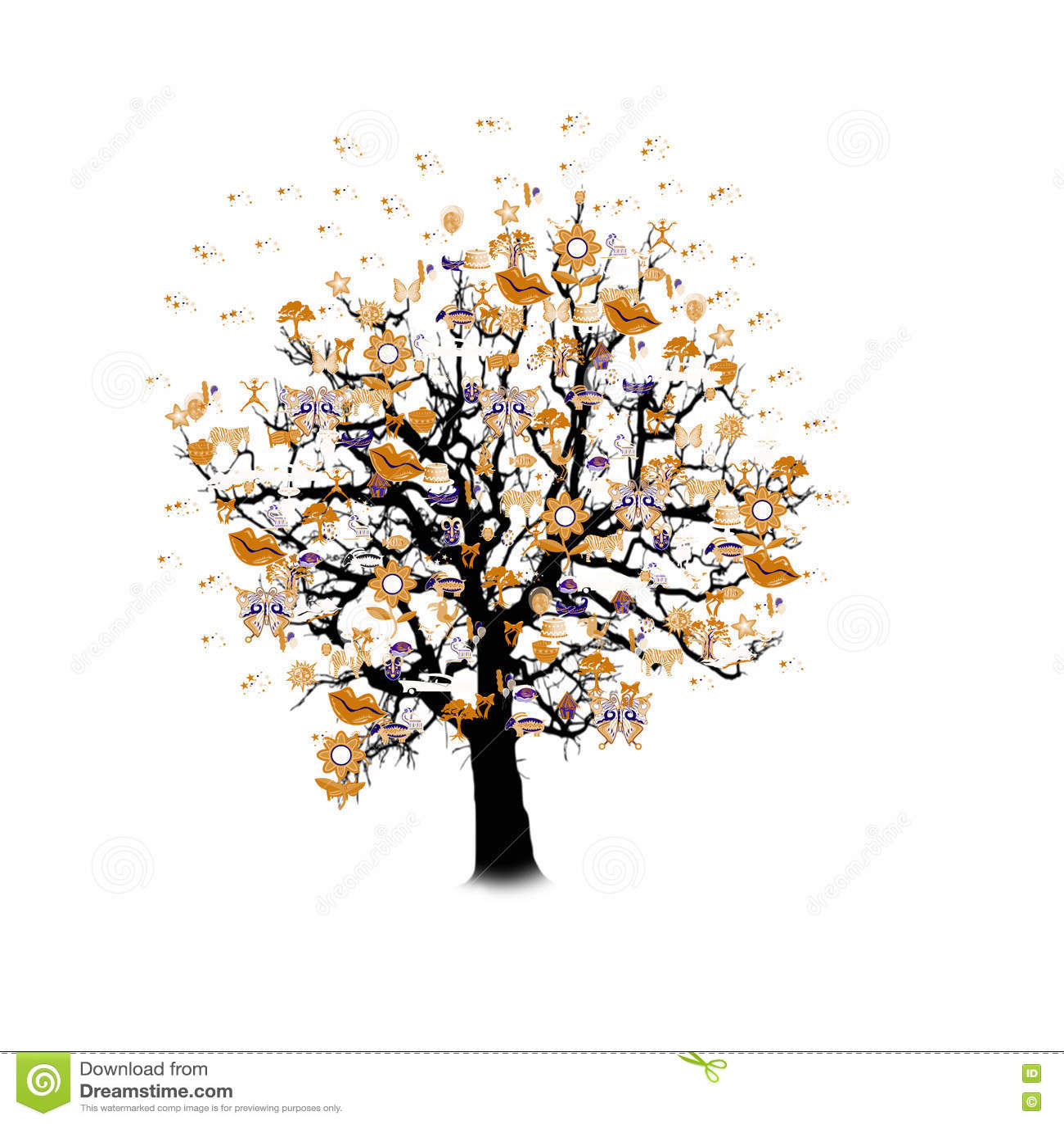 Célébration heureuse, arbre drôle avec des symboles de vacances