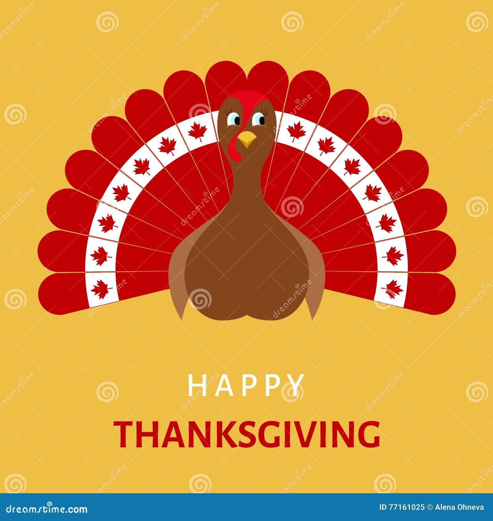 Célébration heureuse de thanksgiving avec l oiseau de dinde de bande dessinée