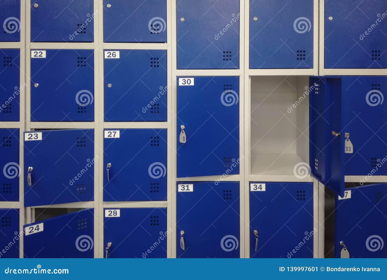 Células en un almacenamiento azul del equipaje del color con llaves y un fondo de la puerta abierta